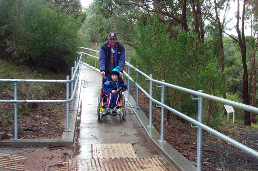 Accessible ramp to mustering area